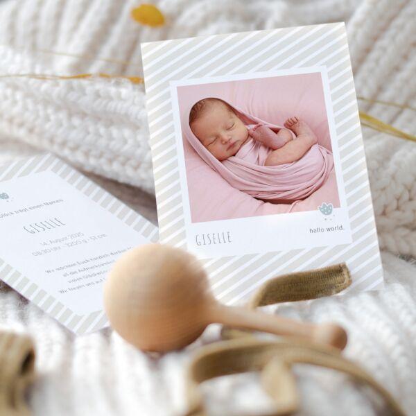 Geburtskarte Hello World